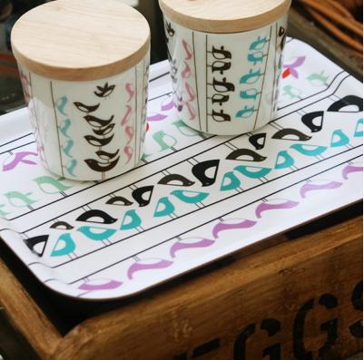 lovebirds tray and mugs